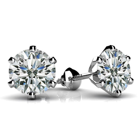 Six Prong Set 3.50Ct Round Cut Diamonds Women Stud Earring White Gold Stud Earrings