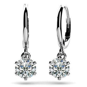 Six Prong Setting Round Cut 2 Carats Diamond Drop Earring White Gold Dangle Earrings