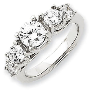 Size 6 Diamond Anniversary   Ring 14K White Gold Three Stone Ring