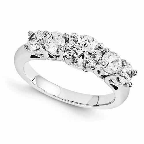 Size 7 Five Stone Diamond Engagement Ring White Gold 14K Engagement Ring