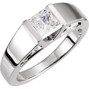 Size 8 Princess Diamond Solitaire Engagement Ring White Gold 14K Solitaire Ring