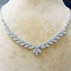 Small Round Cut 16 Ct Diamonds Ladies Necklace With Chain White Gold Chains Necklace