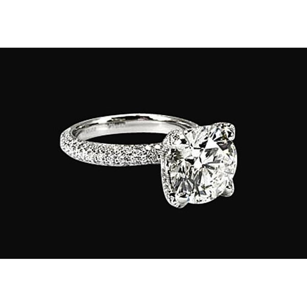 Solid 18K White Gold Engagement Ring 4.51 Carat Sparkling Diamond Ring Solitaire Ring with Accents