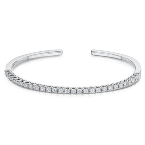 Solid White Gold 14K Round Brilliant Cut 7.00 Carats Diamond Cuff Bracelet Cuff Bracelet