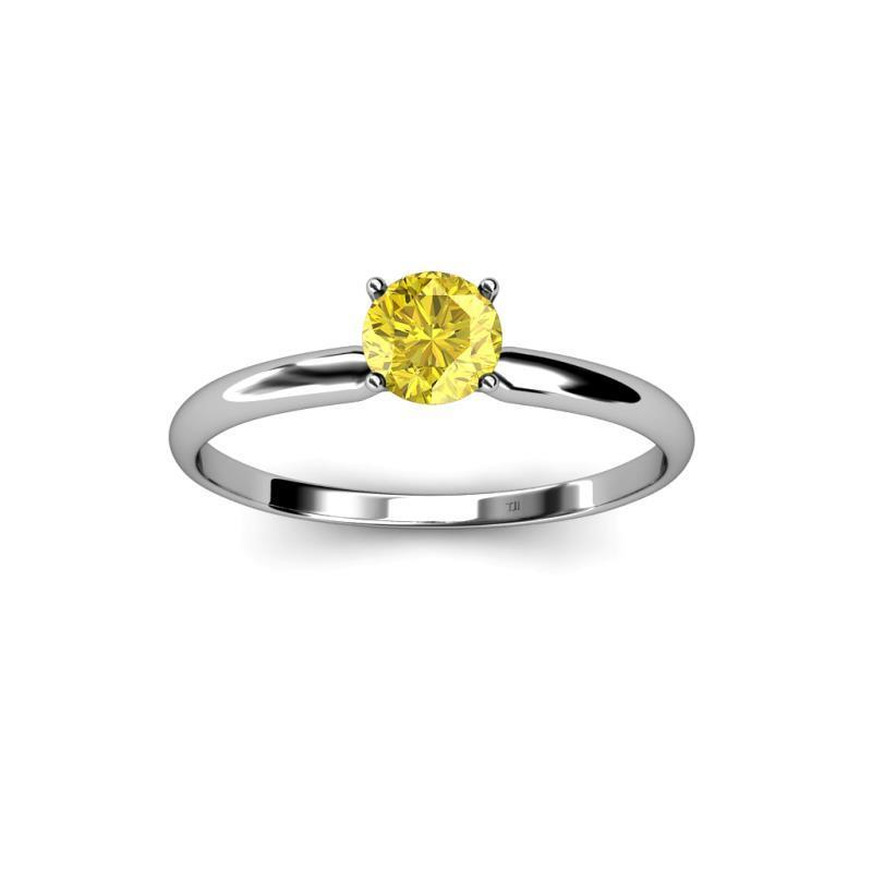 Solitaire 2.00 Ct Yellow Sapphire Ring White Gold 14K Gemstone Ring