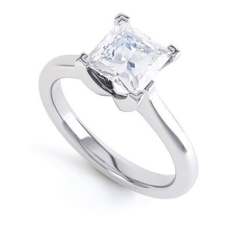 Solitaire 2.25 Carat Princess Cut Diamond Wedding Ring White Gold Solitaire Ring