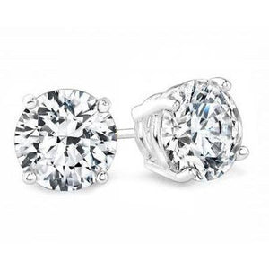 Solitaire 2.5 Ct Round Diamond Stud Earrings White Gold 14K Stud Earrings