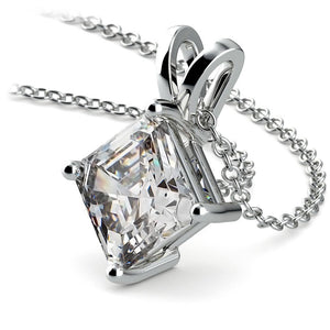 Solitaire Asscher Cut 2.50 Carat Diamond Pendant Necklace 14K Pendant