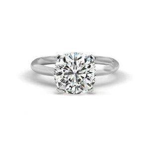 Solitaire Big Cushion Cut 3.00 Carat Diamond Wedding Ring Gold White Solitaire Ring