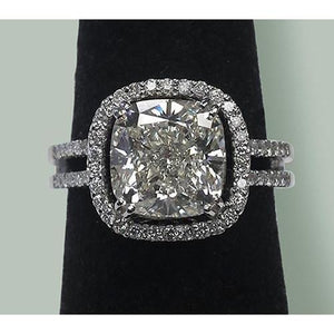 Solitaire Cushion Halo Diamond Pave Ring 6.50 Carats Gold 14K Halo Ring