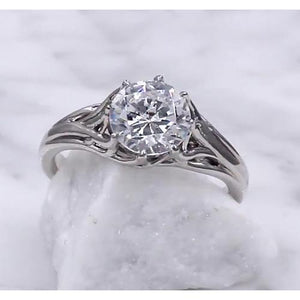 Solitaire Diamond Ring 2 Carats Trellis Setting Solitaire Ring