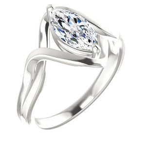 Solitaire Diamond Ring 2.50 Carats Twisted Split Shank 14K White Gold Solitaire Ring