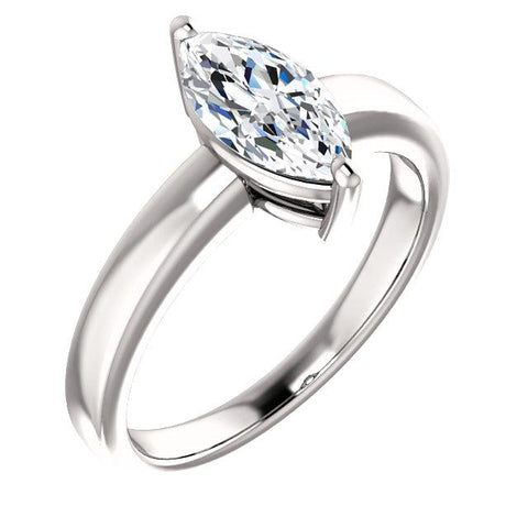 Solitaire Diamond Ring Marquise Cut 2.50 Carats White Gold Solitaire Ring