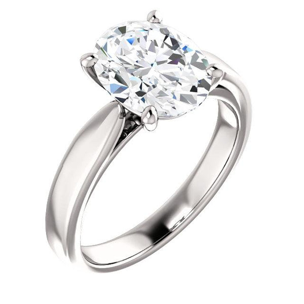 Solitaire Diamond Ring Oval 3.50 Carats Split Shank Cathedral Setting White Gold Solitaire Ring