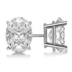 Solitaire Diamond Stud Earring Solid Gold 14K Diamond Oval Cut 4 Ct Stud Earrings