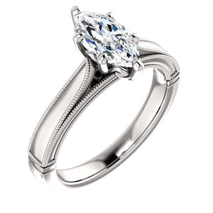 Solitaire Diamond Vintage Style Ring 2 Carats Solitaire Ring