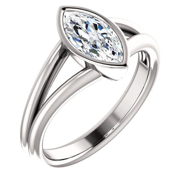 Solitaire Marquise Diamond Ring 3 Carats Bezel Setting Split Shank Women Jewelry New Solitaire Ring