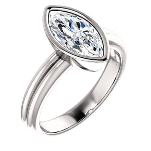 Solitaire Marquise Diamond Ring 3 Carats Double Shank Bezel Setting White Gold 14K Solitaire Ring