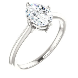 Solitaire Oval Diamond Ring 4 Carats 4 Prong Setting White Gold Solitaire Ring