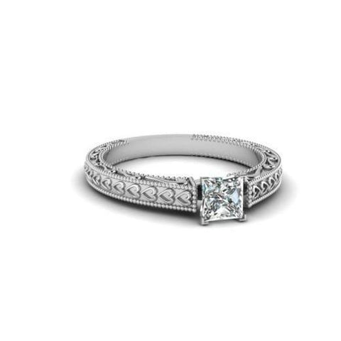 Solitaire Princess Cut 1 Carat Diamond Antique Look Ring White Gold Solitaire Ring