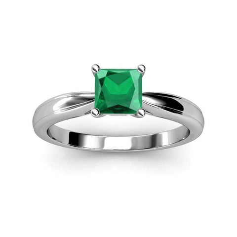 Solitaire Princess Cut Emerald 2.50 Carats Wedding Ring Gold White Gemstone Ring