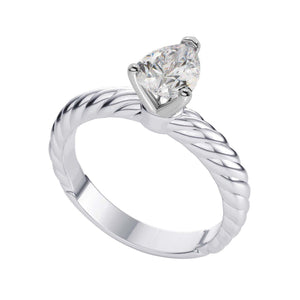 Solitaire Prong Set Pear 1.50 Carat Diamond Wedding Ring Gold White Solitaire Ring