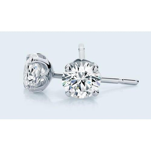 Solitaire Prong Set Round Diamond 1.60 Carats Stud Earring Solid Gold Jewelry Stud Earrings