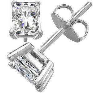 Solitaire Radiant Cut Diamond Stud Earring 2 Carats White Gold 14K Stud Earrings