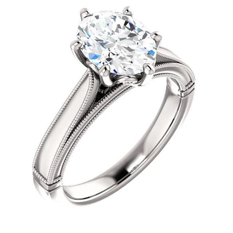 Solitaire Ring 4 Carats Oval Vintage Style Milgrain Jewelry Solitaire Ring