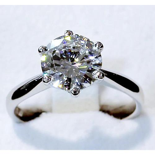 Solitaire Ring 4 Carats Round Diamond Cathedral Setting Solitaire Ring