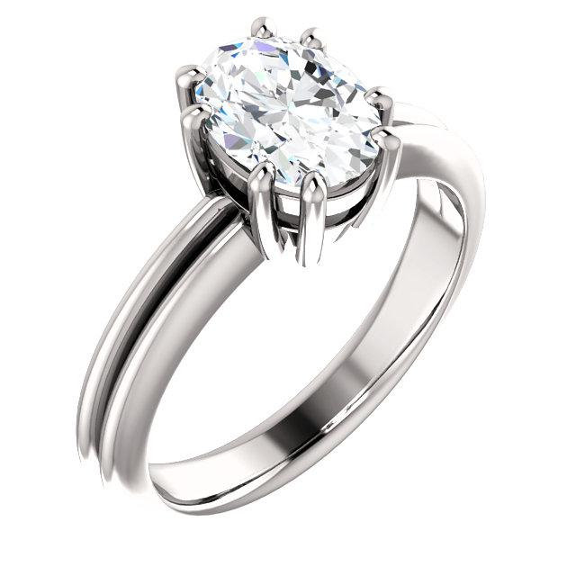 Solitaire Ring Oval Cut 5 Carats Split Shank Prong Setting Jewelry New Solitaire Ring