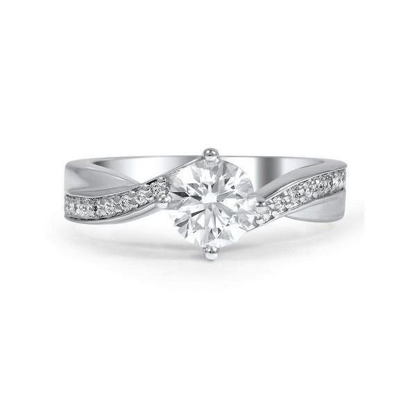 Solitaire Ring With Accent Gorgeous Prong Set 2.80 Ct Diamonds Anniversary Ring White Gold Solitaire Ring with Accents