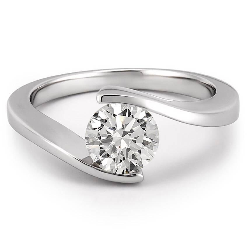 Solitaire Round 1.25 Carats Diamond Wedding Ring White Gold 14K Solitaire Ring