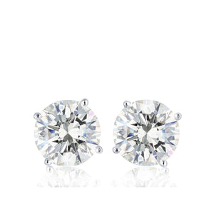 Solitaire Round Cut 2 Carats Diamond Stud Earring White Gold 14K Stud Earrings