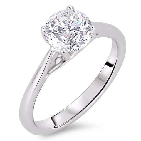 Solitaire Round Cut 2.00 Carats Diamonds Wedding Ring White Gold 14K Solitaire Ring