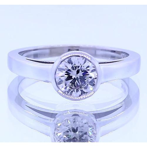 Solitaire Round Diamond Ring Bezel Set 1 Carat White Gold 14K Solitaire Ring