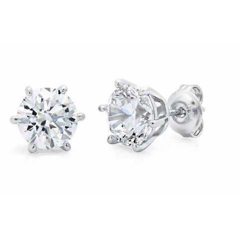Solitaire Round Diamond Stud Earrings 3 Carats White Gold Stud Earrings