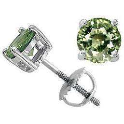 Solitaire Round Green Sapphire Women Earring White Gold 6 Ct. Gemstone Earring