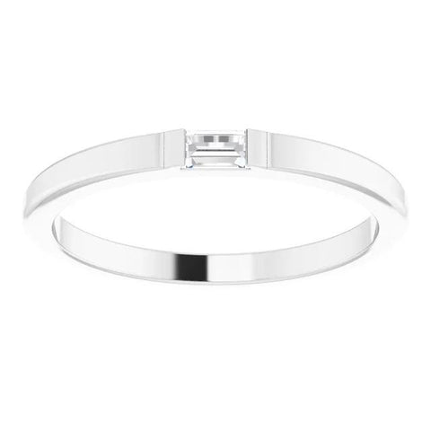 Solitaire Wedding Band Straight Baguette 0.40 Carats White Gold 14K Band