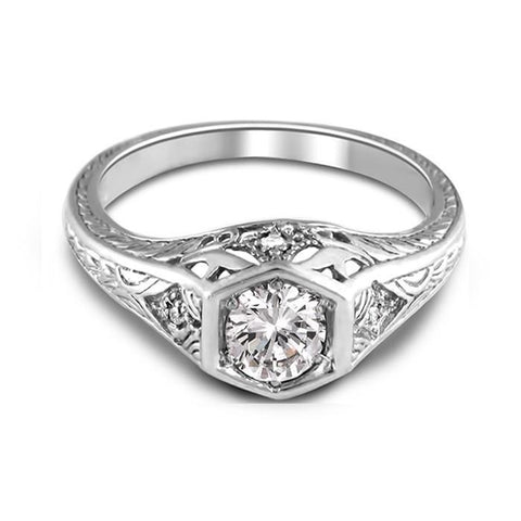 Solitaire With Accent 2.00 Carats Diamonds Antique Look Wedding Ring Solitaire Ring with Accents