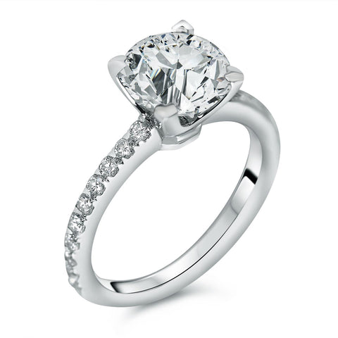 Solitaire With Accent 2.40 Carats Diamonds Wedding Ring Gold White Solitaire Ring with Accents