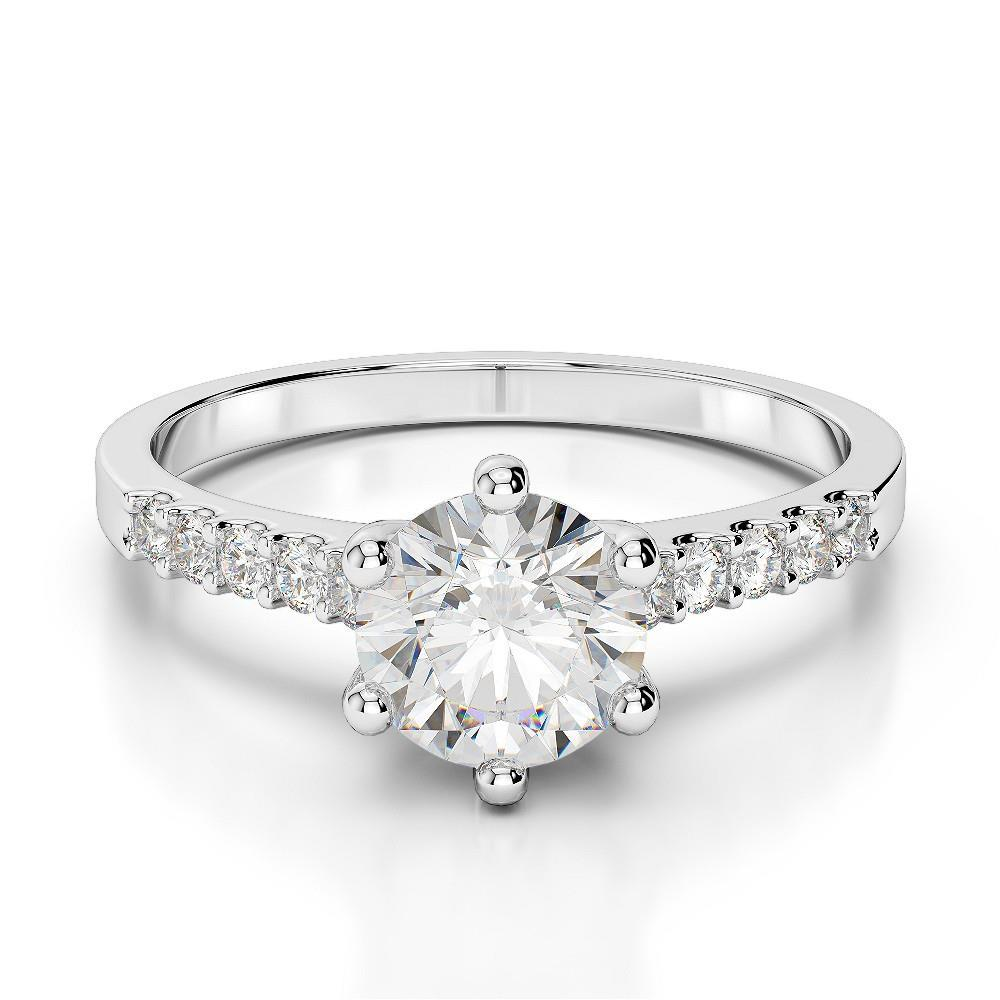 Solitaire With Accent 2.85 Carats Diamonds Engagement Ring Wg 14K Solitaire Ring with Accents