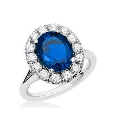 Solitaire With Accent 3.40 Ct Sri Lankan Sapphire And Diamonds Ring Gemstone Ring