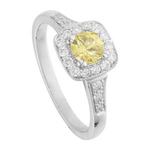 Solitaire With Accent 3.5 Ct Yellow Sapphire And Diamonds Ring Gemstone Ring