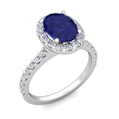 Solitaire With Accent 3.50 Carats Sapphire With Diamonds Ring White Gemstone Ring