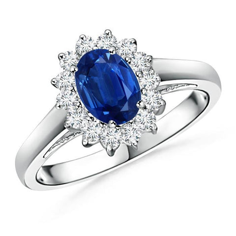 Solitaire With Accent 3.70 Ct Sapphire And Diamonds Ring White Gold Gemstone Ring