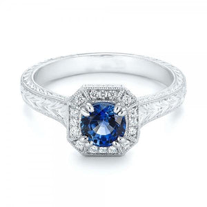 Solitaire With Accent 3.75 Ct Sapphire And Diamonds Ring White Gold Gemstone Ring