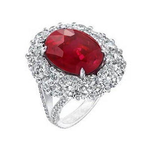 Solitaire With Accent 4 Ct Prong Set Ruby And Diamonds Ring Gold 14K Gemstone Ring