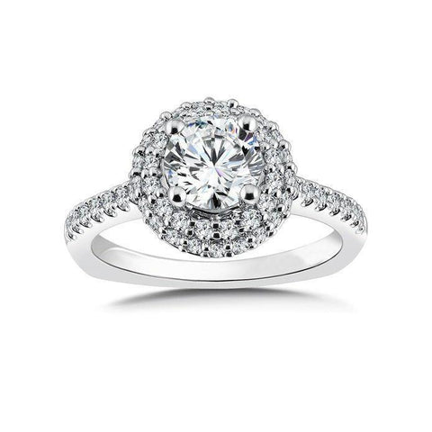 Solitaire With Accent 4.50 Ct Diamonds Halo Ring White Gold 14K Halo Ring