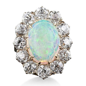Solitaire With Accent 4.50 Ct Opal And Diamonds Ring White Gold 14K Gemstone Ring